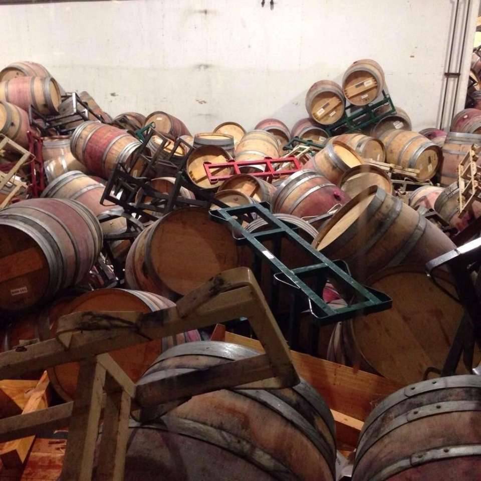 Napa Earthquake 6.1 mag - wine barrels