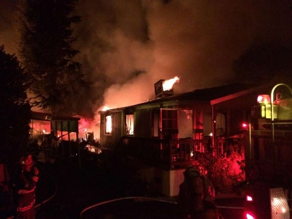 Mobile home park fire after earthquake