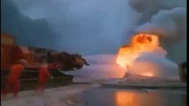 Extinguishing a fire using Jet engines mounted on top of a tank.